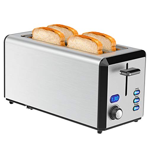Long Slot Toaster, 4 Slice Toaster Best Rated Prime with LED Display, Stainless Steel Bread Toasters with 1.6'' Extra Wide Slots, 6 Bread Shade Settings, Defrost/Reheat/Cancel Function, Removable Crumb Tray, 1300W, Silver (2 Slice)