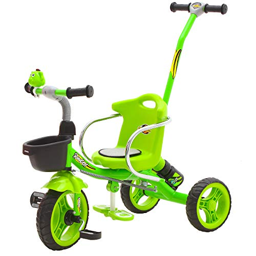 GoodLuck Baybee - Kids 2 in 1 Convertible Baby Tricycle Trike with Parental Push Handle Kids Tricycle with Water Bottle Holder Kid's | Suitable for Boys & Girls -(1 to 5 Years) Blue (LiteGreen)