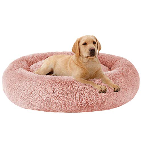 MFOX Calming Dog Bed (L/XL/XXL/XXXL) for Medium and Large Dogs Comfortable Pet Bed Faux Fur Donut Cuddler Up to 25/35/55/100lbs