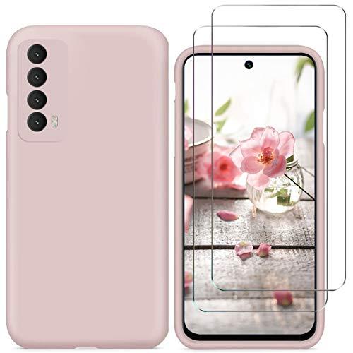 N+A YiKaDa - Funda Compatible con Huawei P Smart 2021 + [2 Unidades] Cristal Templado Protector de Pantalla, Cáscara Suave de Silicona TPU Líquida - Rosado
