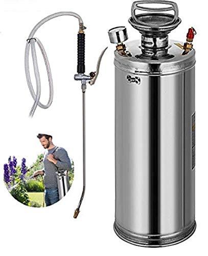 INWAVE Stainless Steel Sprayer, 2 Gallon - Steel Hand-Pump Sprayer, with 3.3-inch Reinforced Hose - Garden Sprayer for Home, Gardening, Ground Cleaning(2 Gallon)