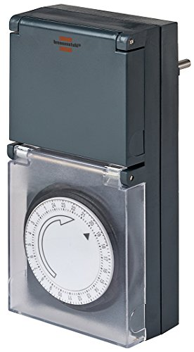 Brennenstuhl Zeitschaltuhr MZ 44, mechanische Timer-Steckdose (Tages-Zeitschaltuhr, IP44 geschützt, mit erhöhtem Berührungsschutz & Schutzabdeckung) schwarz