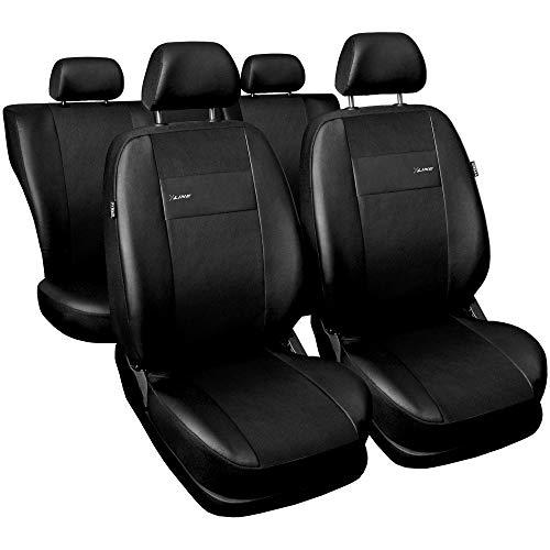 3er Set Saferide Autositzbezüge PKW universal   Auto Sitzbezüge Kunstleder Schwarz für Airbag geeignet   für Vordersitze und Rückbank 1+1 Autositze vorne und 1 Sitzbank hinten teilbar Reißverschlüsse