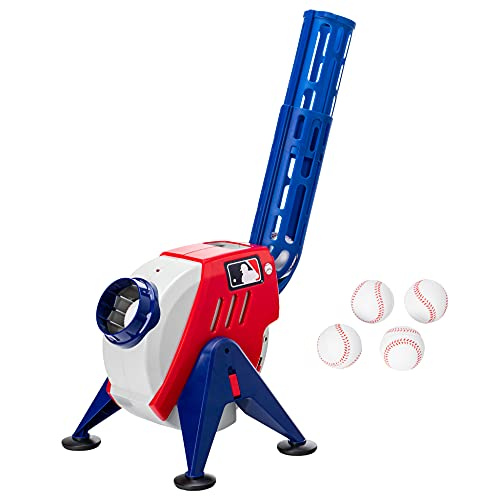 Franklin Sports Kids MLB Pitching Machine - MLB Baseball Pitching Machine for Kids Batting Practice - MLB Power Pitcher with Adjustable Speeds and Launch Angles (White/Red)