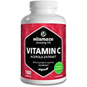 Vitamin C Acerola 160 mg High Dose Natural Vitamin C from 660 mg Acerola Cherry Extract, Vegan & Optimally Bioavailable, 180 Capsules for 6 Months, Dietary Supplement Without Additives