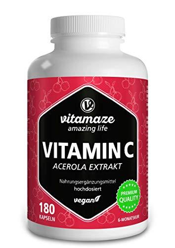 Vitamine C Acerola 160 mg, Haute Dose Naturelle Vitamin C à Partir de 660 mg d'Extrait d'Acérola, Végétalien et Biodisponible, 180 Capsules pour 6 Mois, Complément Alimentaire Naturel et Pure