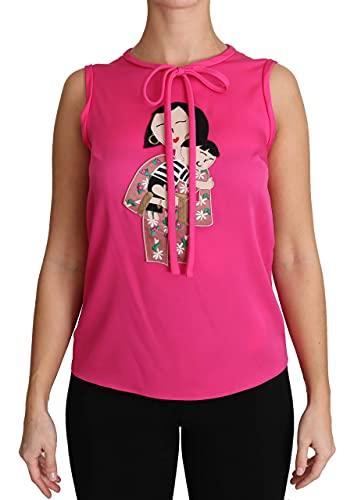 Dolce & Gabbana Camiseta de tirantes de seda familiar rosa TSH3161 para mujer