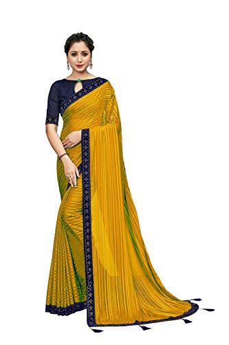 VintFlea Indian Women's Bollywood Designer Plain Chiffon Silk Striped Jari Saree with Un-Stiched Blouse Piece Yellow