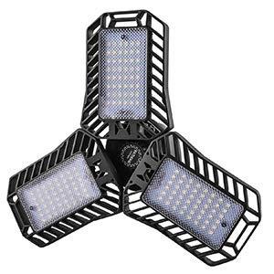 UPDATED LED Garage Light,60W 144 LEDs 5000K(100W Equivalent)/E26 CRI80+ AC110v/deformable leaf garage light,indoor use garage lighting for Led Shop Lights,Workshop Light,Garage work lights