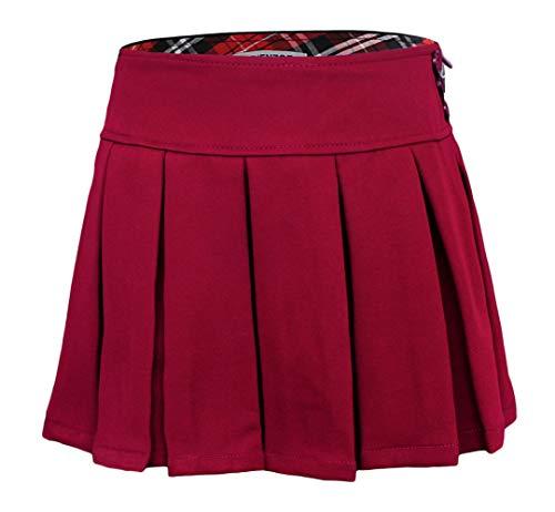 Bienzoe Mädchen Dauerhaft Teflon Dehnbar Gefalteter Röcke Rotwein 12