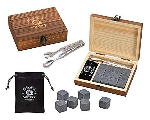 WOMA Whisky Steine Set - 6 & 12 Eiswürfel wiederverwendbar aus Basalt mit Samtbeutel, hochwertiger Holzbox und Edelstahl Zange - Geschmacksneutral & Kein Verwässern für Whiskey, Wodka, Gin & Mehr