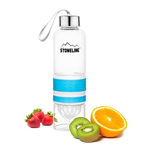 STONELINE  2 in 1 Trinkflasche mit Saftpresse, 550 ml, blau