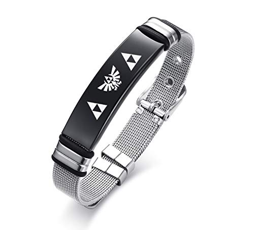 VNOX Stainless Steel The Legend of Zelda Symbol Amulet Jewellery Reticulate Watch Band Cuff Bracelet for Men Boy,Adjustable 17.5-22cm