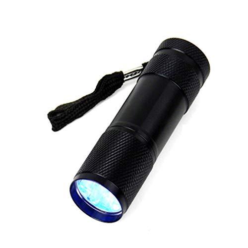 Mini lampe de poche UV à 9 DEL Rayons ultraviolets Lumière de torche de détection invisible avec marqueur d'encre pour vérifier le montant de l'argent et (couleur: noir)