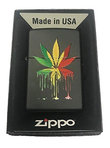 Zippo Custom Lighter - Drippy Rasta Marijuana Weed Pot Leaf Design - Gifts for Him, for Her, for Boys, for Girls, for Husband, for Wife, for Them, for Men, for Women, for Kids