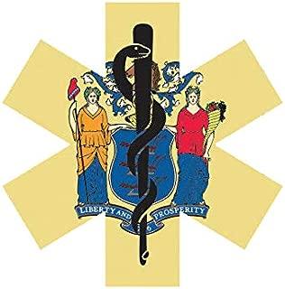 EW Designs New Jersey State Shaped EMT Flag Sticker Decal Vinyl EMS Paramedic NJ Bumper Sticker Vinyl Sticker Car Truck Decal 5