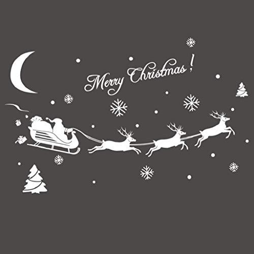 Weihnachten Fensterbilder Weihnachtssticker,Weihnachtsmann Rentier Fensterdeko Fensteraufkleber Fenstersticker Weihnachtsdeko Wandaufkleber Wandtattoo Wandsticker Aufkleber PVC Wanddeko Party