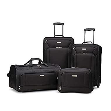 American Tourister Fieldbrook Xlt 4pc Set (Bb/Wh Dfl/ 21/25 Upright), Black