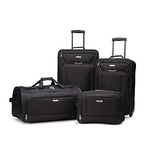 American Tourister Fieldbrook XLT Softside Upright Luggage, Black, 4-Piece Set (BB/DF/21/25)