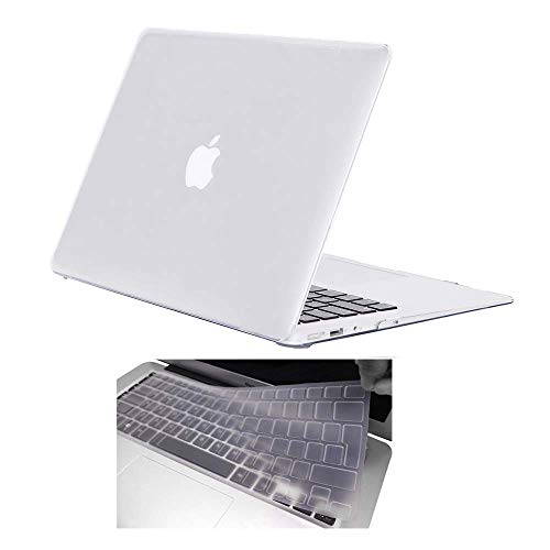 FINDING CASE For MacBook Air 13'/13.3' case A1369 / A1466, BUNDLE 2 in 1 MacBook Air 13 inch,Glossy Crystal Hard Case With UK/EU layout Silicone Keyboard Cover (crystal Clear)