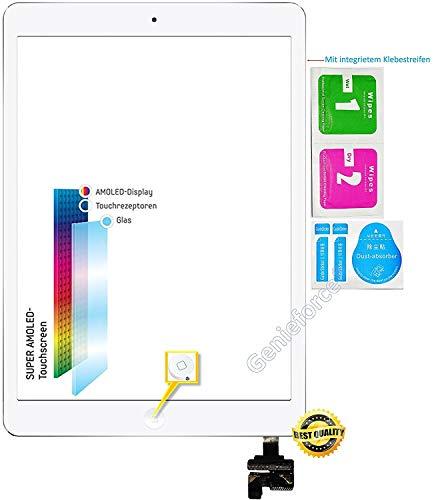 Genieforce Retina touchscreen glas digitizer voor Apple iPad Mini 1st en iPad Mini 2 Generation display, met origineel LVA flexibele kabel, IC-chip en home-button - incl. 3-delige reinigingsset - wit wit