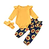 Traje Amarillo para bebé niña, Mameluco con Volantes para niño recién Nacido, Mono de Color sólido de Manga Larga, pantalón de Girasol con Diadema con Nudo de Lazo para Viajes