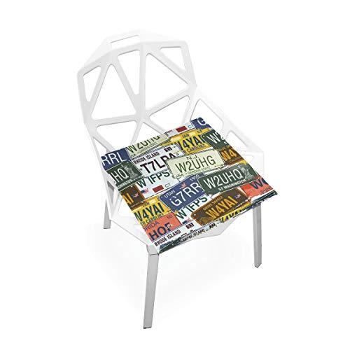 Cojín de espuma viscoelástica para sillas de cocina, suave, lavable, antipolvo, silla de comedor, almohadilla de 40,6 x 40,6 cm (placa de matrícula) 2030103