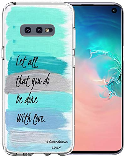 Topgraph Case for S10E Christian [Soft TPU Slim Fit Black with Design] Cover Compatible with Samsung Galaxy S10E Protective Cover Bible Verse Words Motivational