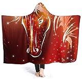 wanglinbin11 Feuerwerk Pferd Flanell Fleece Hoodie Decke Throw Wearable Cuddle Super weich warm gemütlich für die ganze Saison