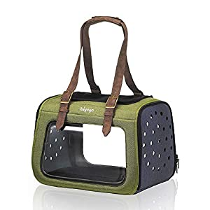 ibiyaya Premium Pet Carrier for Cats, Small Breed Dogs, Rabbits – Forest Green Airline Approved Hard Case Dog Carriers