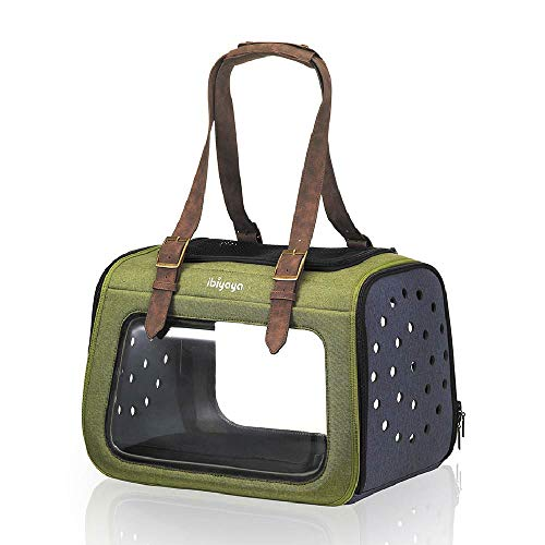 ibiyaya Premium Pet Carrier for Cats, Small Breed Dogs, Rabbits - Forest Green Airline Approved Hard Case Dog Carriers