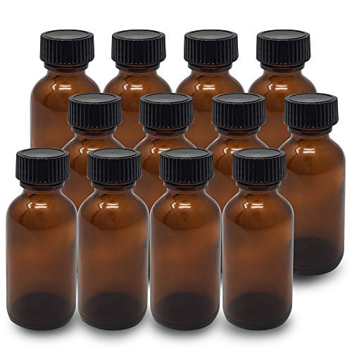 Amber Glass Bottles 1 Oz (30 ml) Pack Of 12 Empty Refillable Bottles With Black Cap Onisavings