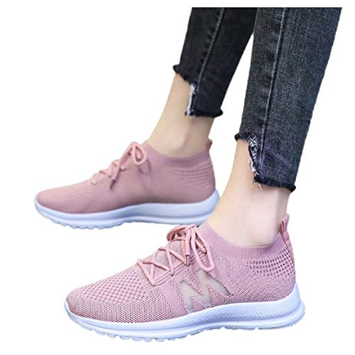 Why Should You Buy Tsmile Women's Summer Solid Lace Up Knitted Closed Toe Sneaker Comfortable Breath...