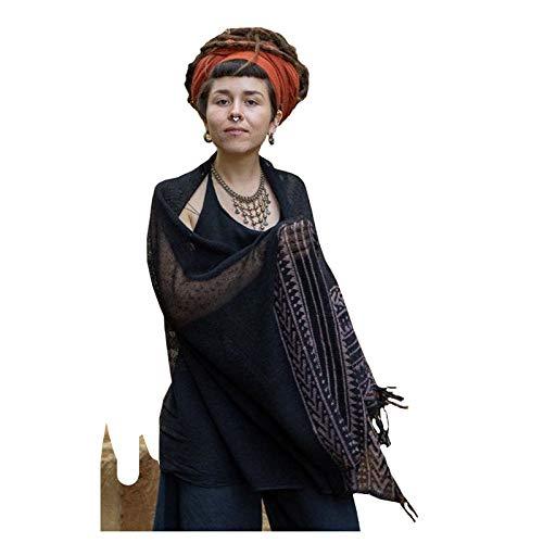BREEZE zwarte handgeweven katoenen sjaal sarong dreads haarband natuurlijk geverfd wrap blok gedrukt ademend Festival Gypsy Tribal Savage AJJAYA