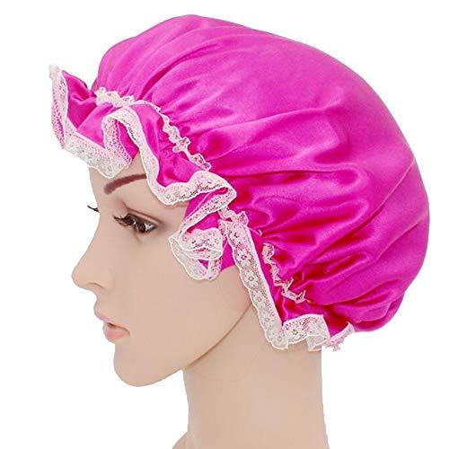 WJH Sleeping Cap pour Les Femmes en Soie Naturelle avec Sommeil Caps Bande élastique pour Cheveux Perte de Sommeil sur la Protection des Cheveux (2 pièces),Rose