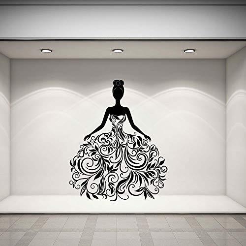 Tianpengyuanshuai Große Wandaufkleber Kunst Frau im Kleid Selbstklebende Wohnaccessoires Wohnzimmer Schlafzimmer Vinyl Fenster Wandbild-42x33cm