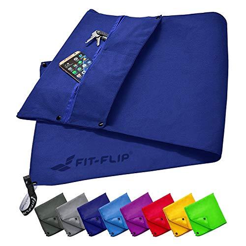 Fit-Flip Fitness Handtuch Set mit Reißverschluss Fach + Magnetclip + extra Sporthandtuch | zum Patent angemeldetes Multifunktionshandtuch, Mikrofaser Handtuch - Dunkelblau