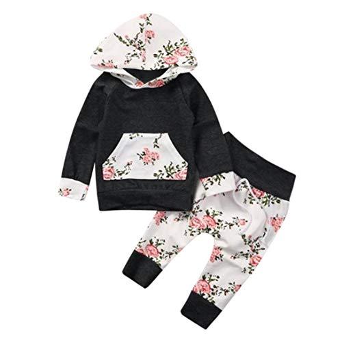 UOMOGO Royal Neonato Bambina Manica Lunghe Cappuccio Vestiti Cappotto Floreale Top Felpa & Pantaloni Due Pezzi Suit 6-24 Mesi, 70-100 cm (età: 0~6 Mesi, Grigio)
