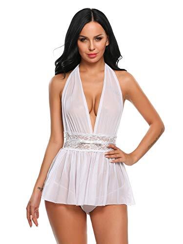 Mallory Winston Women's Babydoll Nighty Sleepwear Satin Lingerie Nightwear with...