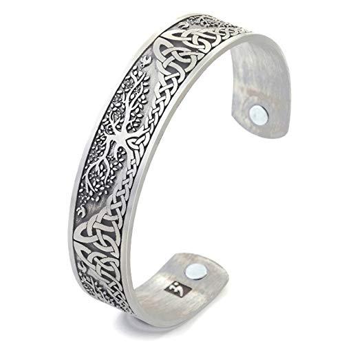 DSJTCH Árbol de la Vida de la Vendimia Pulsera Brazalete de Acero Inoxidable de aleación de Zinc magnética joyería brazaletes del Regalo Hombres Mujeres (Metal Color : Antique Sliver Color)