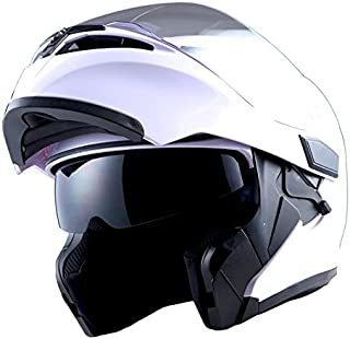 1Storm Motorcycle Modular Full Face Helmet Flip up Dual Visor Sun Shield: HB89 Glossy White; Size M (55-56 CM,21.7/22.0 Inch)