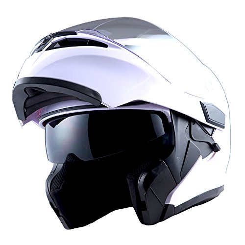 1Storm Motorcycle Modular Full Face Helmet Flip up Dual Visor Sun Shield: HB89 Glossy White Large