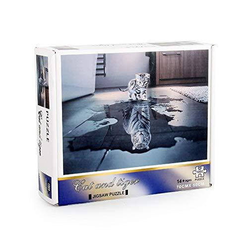 iBaste 1000 Stücke Katze Und Tiger Puzzle Spielzeug, Weißer Tiger In Herz Kätzchen Puzzles