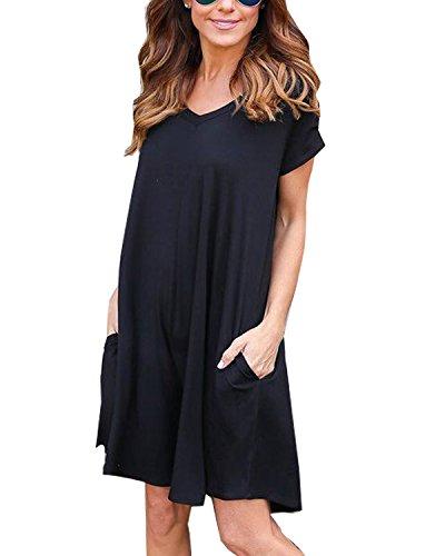 Tempt Me Womens Tunic Tops Casual Plain Simple Pocket T-Shirt Loose Dress Black Medium