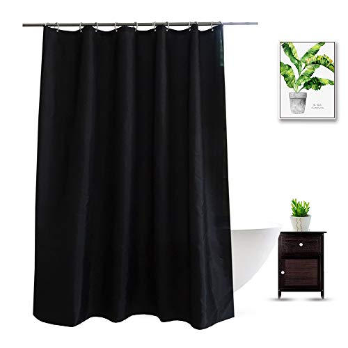 Black Shower Curtain Liner 74 Inches Long, Water Repellent...