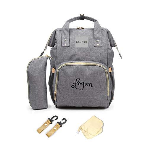 PERSONALIZED Diaper Bag Knapsack Backpack Monogram Baby Bag (Grey)