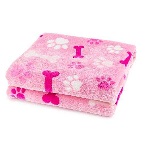 ALLISANDRO® Hundedecke Haustier Katzen Decke Flanell Blau sehr Weich und Schöne perfekt für Winter(160 * 100cm) (XL, Pink)