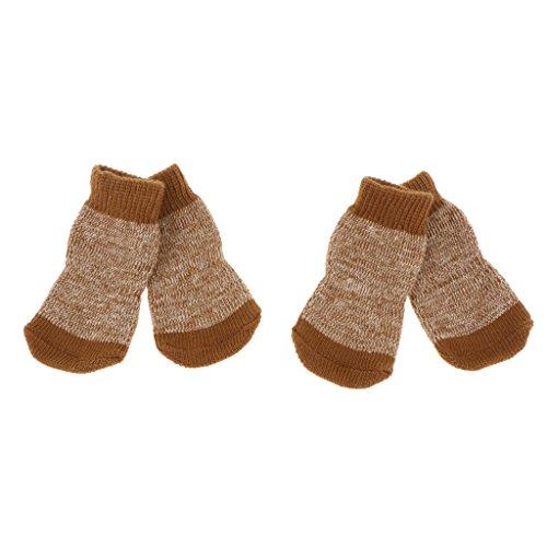 perfk 4pcs Chaussures pour Chien Chat Chaussettes Chauffages Antidérapantes - M