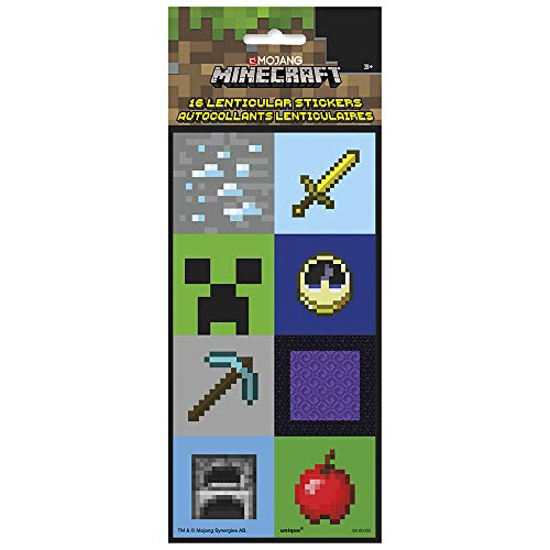 Unique 79410 Minecraft Lenticular 3D Stickers 16 Ct, Multicolor, One Size