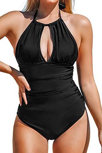 CUPSHE Women's Keep Secrets Halter One-Piece Swimsuit Beach Swimwear, Black, Small